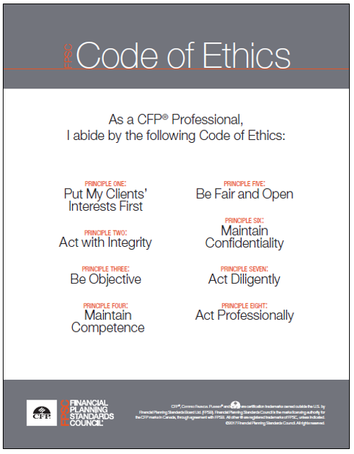 I abide by the following Code of Ethics